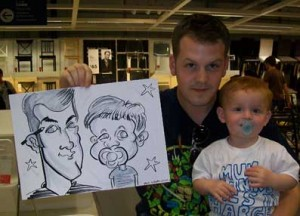 father and son caricatured child has a dummy throughout