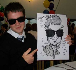 sun glasses caricature school prom entertainer