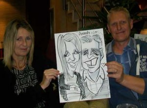 droopy eyes in this man caricatures at a wedding in ashford kent