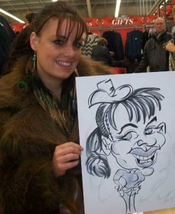 cowgirl posturing in this caricatures drawn in Asda
