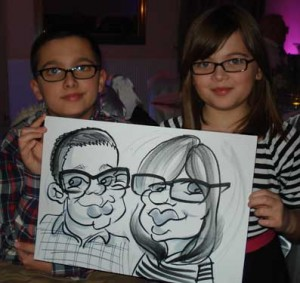 brother and sister in the caricature at a wedding in Epsom