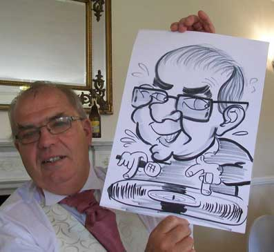 never to old to be a MC and a DJ. Spinning the Disc's in this caricature at a wedding in Essex