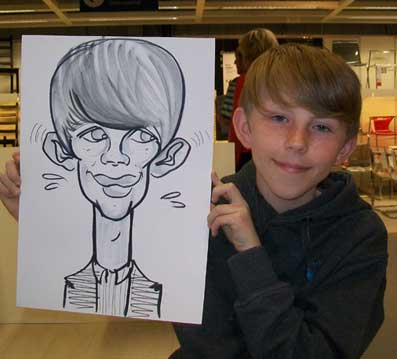 giraffe neck in this boys caricature