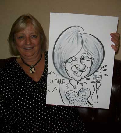Jane is caricatured drink a glass of wine at a corporate event in mannings heath