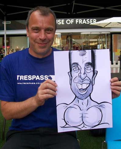 this man work at trespass on Fremlin Walk Maidstone and wanted to be caricatured with big muscles