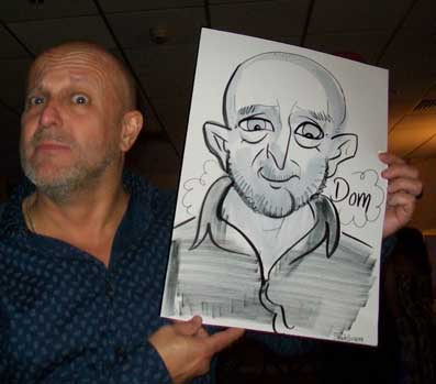 Dom has a pointy nose in the caricature at a corporate event in southampton