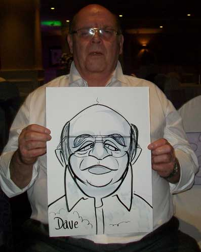 Dave is a ex - boxer and he wanted me to know before I did a caricature of him! at a wedding in Reading
