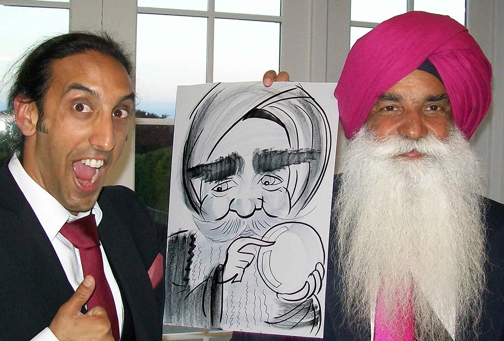 asian wedding entertainment young and old in fact caricatures for all generations