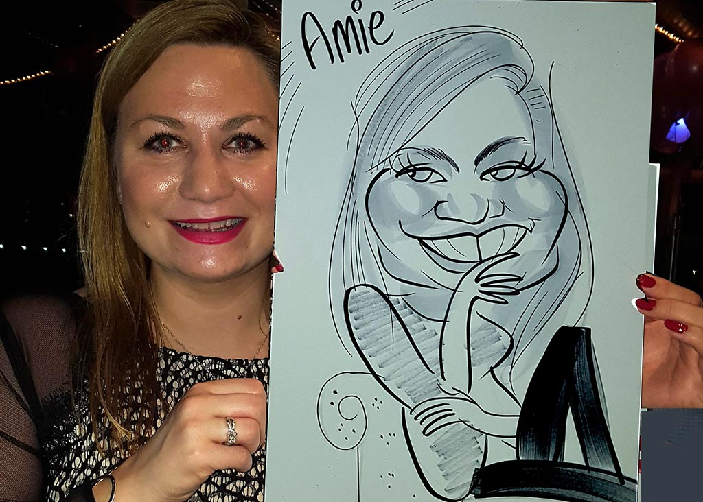 exhibition caricaturist Amie on the doctors couch