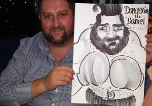 boxing caricatures Dangerous Daniel and his alter ego