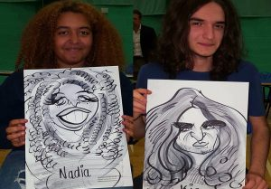 freshers fair caricaturist Nadia has great hair to caricature