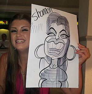 a beaming smile in Shannon's caricature