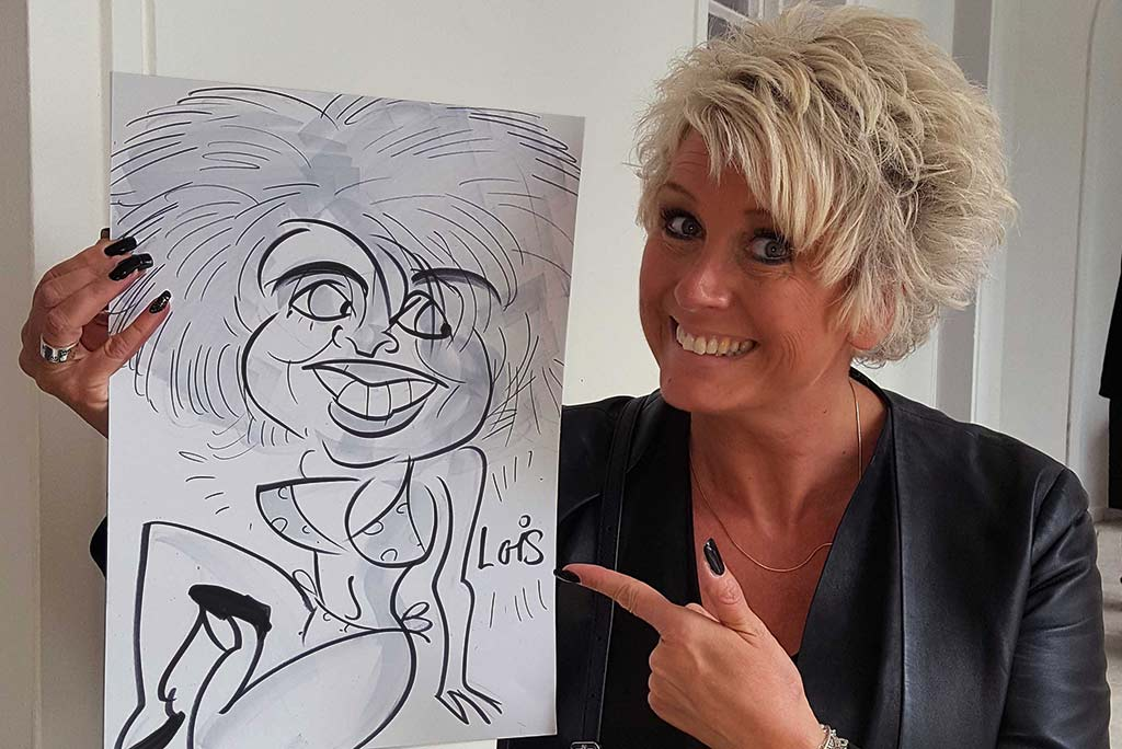 summer drinks party caricaturist