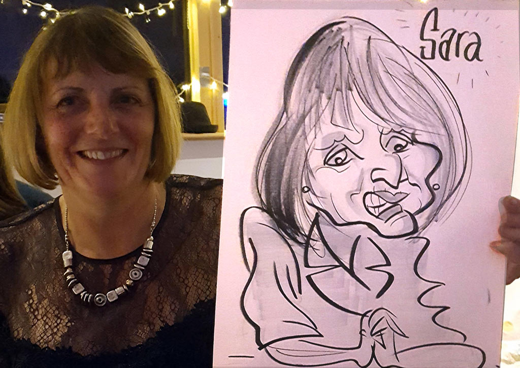aniversary party caricature of Sara