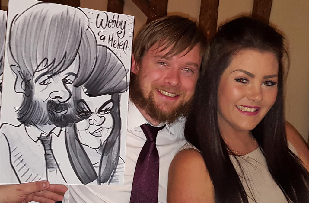 award ceremony caricaturist Webby with a full Garibaldi beard to draw