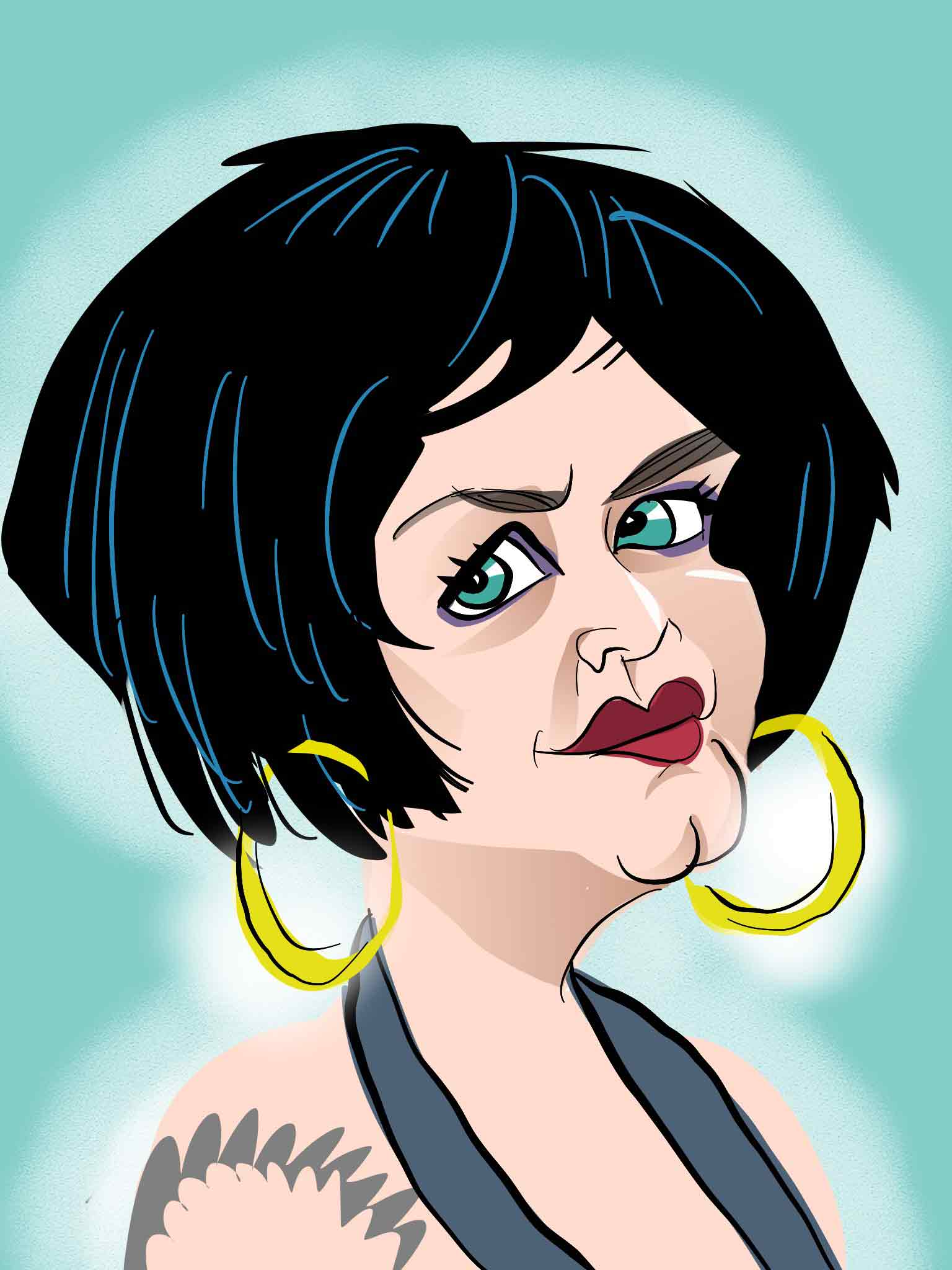 nessa caricature gavin and stacey caricature ruth jones caricature