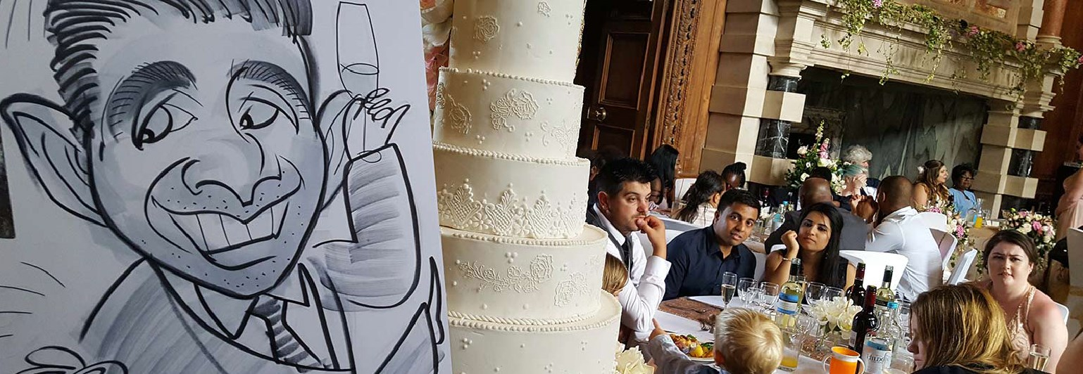 Caricature pictured next to the Wedding cake in the grand hall