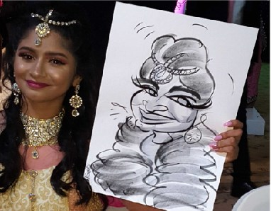 lavish jewelry is captured in the woman's caricature at a Asian wedding