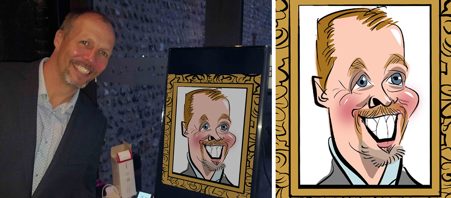 corporate caricatures a man standing next to his caricature.