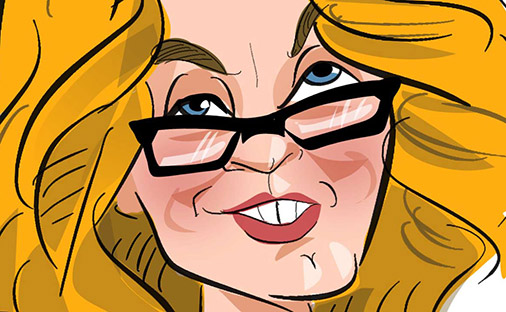 Digital caricature of a lady with orange blonde hair