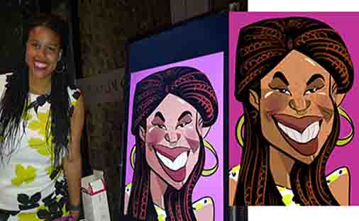 plait hair and freckles all in the caricature