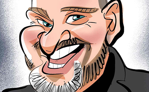 digital caricature of man with a grey beard, downward nose and cheeky grin