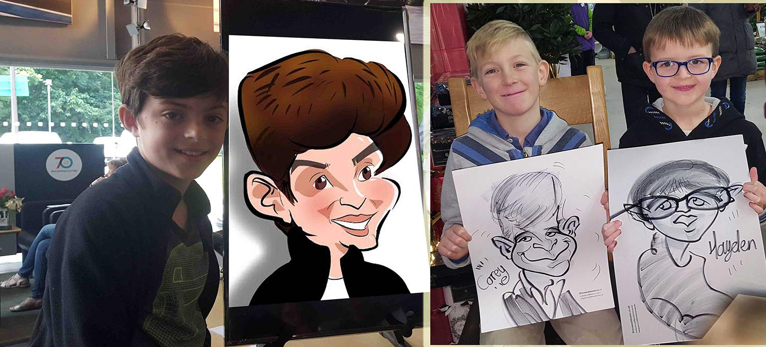 children posing with their caricatures at school event