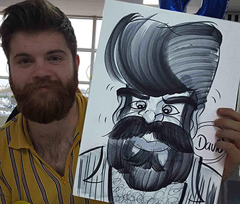 Dave looking hairy in his party caricature