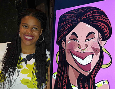 lady gets a digital caricature and poses next to the monitor