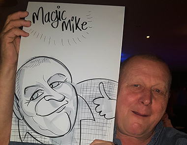 Magic Mike gets a caricature. Drawn with Pens and paper