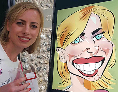 lady with red lips stand next to next caricature on TV screen
