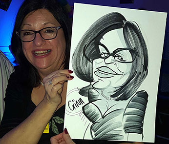 Caricature of Gina at a corporate event