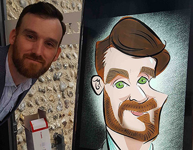 beard and green eyes are capture in digital caricature