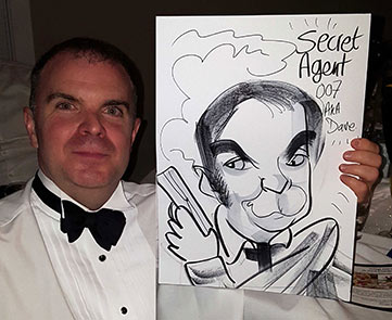 caricature of man dressed as James Bond 007