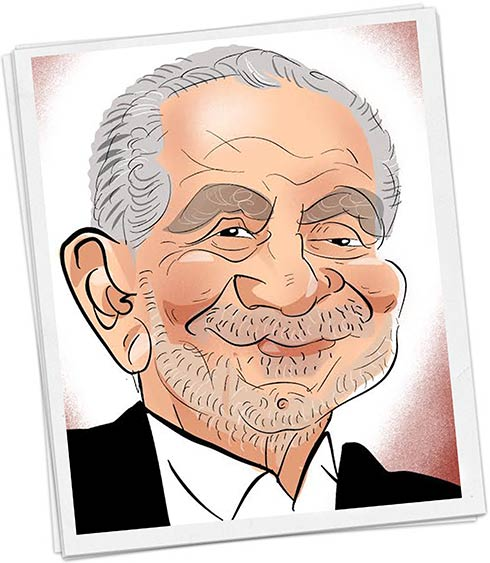 the apprentice boss Alan Sugar in a caricature