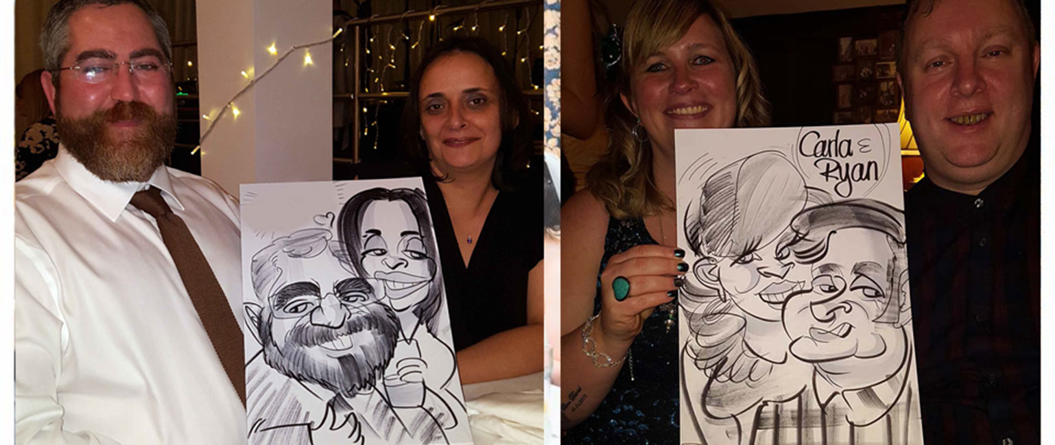 charity dinner caricature artist and people holding their caricatures