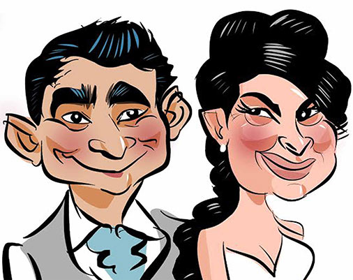 Groom and Bride draw on a Ipad