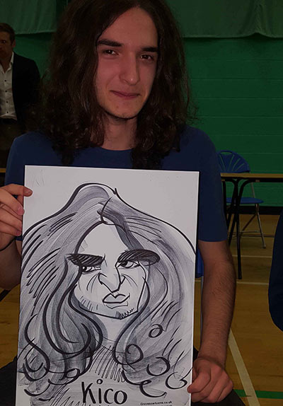 Kico is a hippy in his caricature