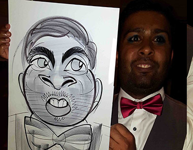 black tie dinner and posing with caricature