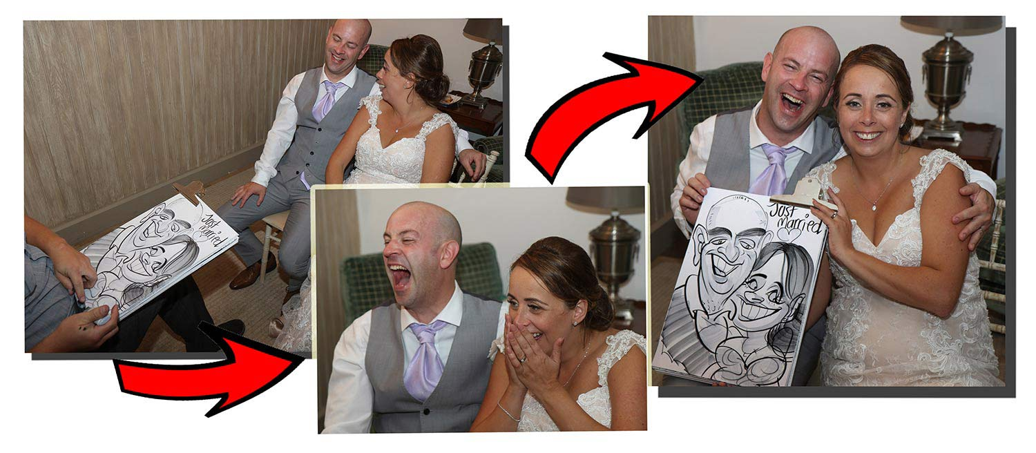 the process of a caricature of the Bride and Groom