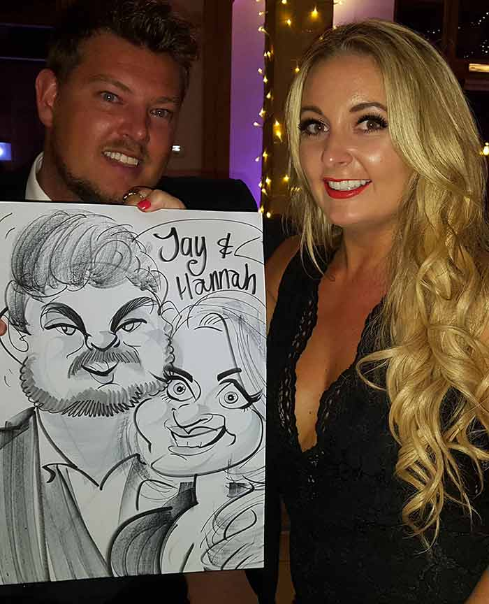 Hannah and Jay are subjected to a caricature