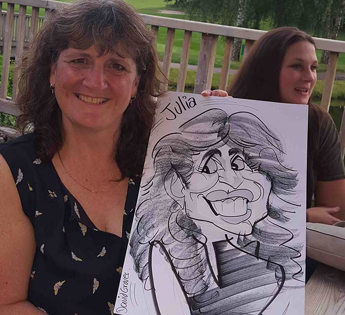 Julia from Bournemouth smiles like her caricature