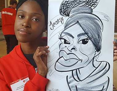 Jeansy with her caricature