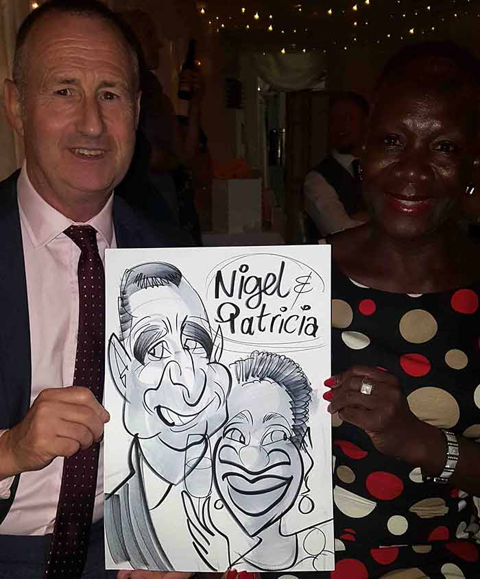 Nigel and Patricia get cartooned in london
