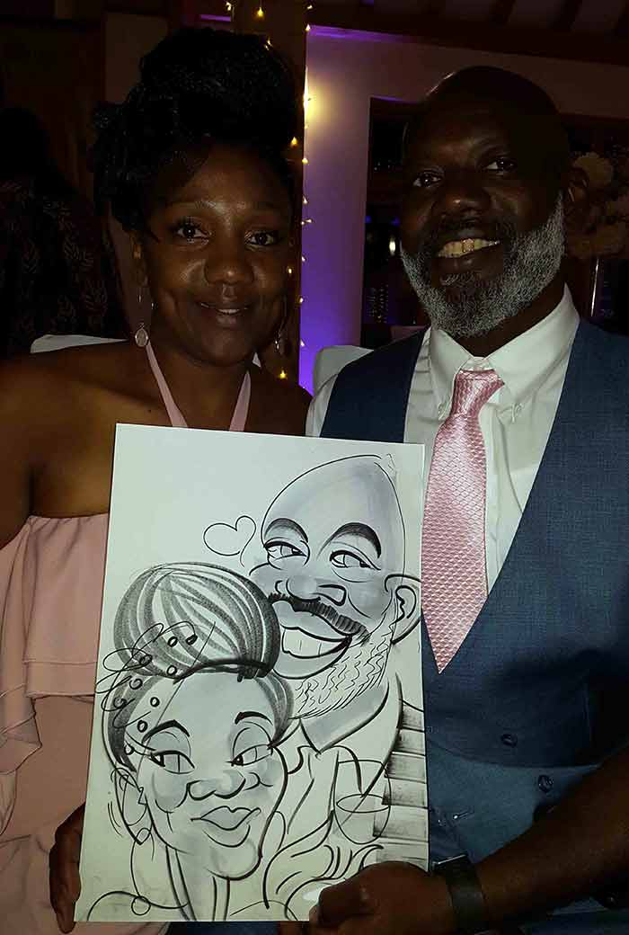 Woman and Man say yes to a caricature