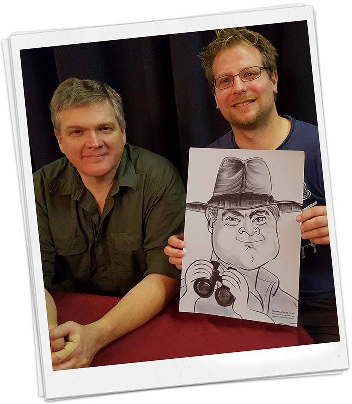 Ray Mears caricature as a gift
