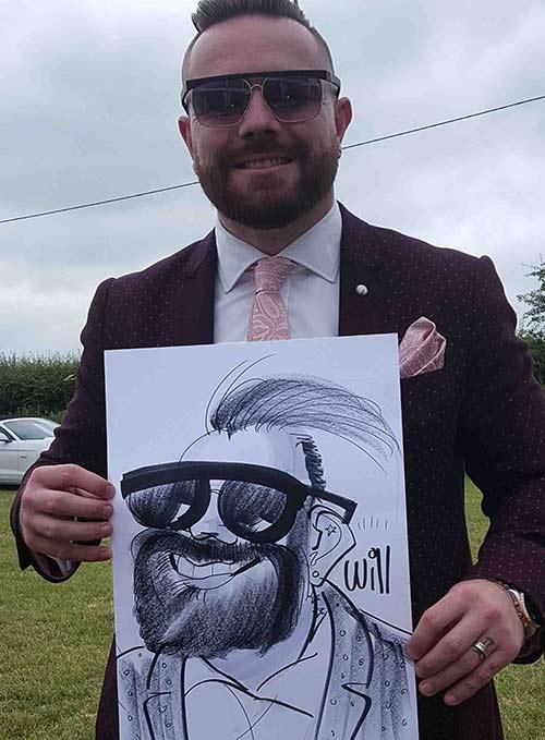 Dressed up smart wedding guest get cartooned