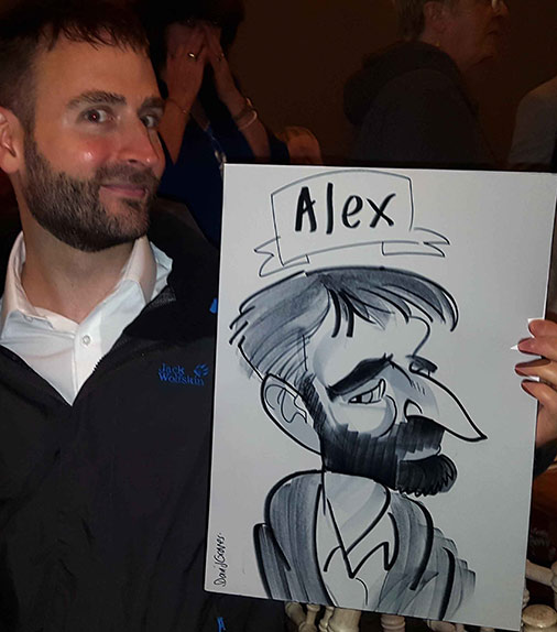 exaggerated nose for Alex's caricature