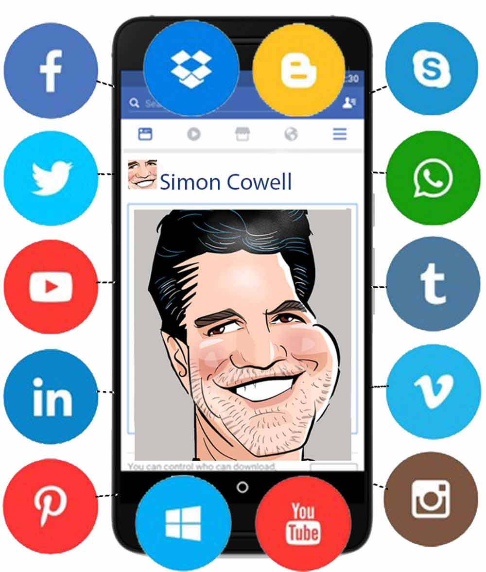 simon cowell surrounded by social media icons