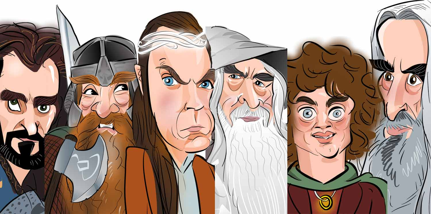 Company team caricatures - The lord of the rings team event